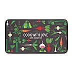 Chef Gear Cook With Love Faux Leather 20-Inch x 32-Inch Comfort Kitchen Mat in Green