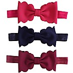 Tiny Treasures 3-Pack Scallop Bow Headband in Navy/Pink/Burgundy