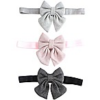 Tiny Treasures 3-Pack Glitter Bow Headband in Silver/Pink/Black