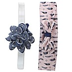 Tiny Treasures 2-Piece Rosette Headband Set in Denim/Pink