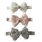 Curls & Pearls 3-Piece Rosette Bow Headband Set in White/Pink/Grey