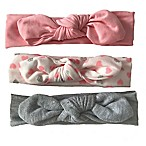 Curls & Pearls 3-Pack Knot Headband in Pink/Grey/Silver Hearts
