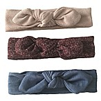 Curls & Pearls 3-Pack Knot Headband in Pink Sparkle/Maroon Sparkle/Denim