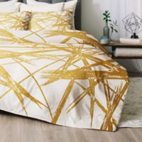 Deny Designs Khristian A Howell Strokes Queen Comforter Set in Gold