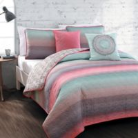 Avondale Manor Cypress Reversible Queen Quilt Set in Coral/Blue