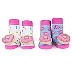 Waddle Size 0-12M 2-Pack Donut Rattle Baby Socks in Pink/Aqua