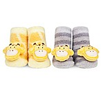 Waddle Size 0-12M 2-Pack Giraffe Rattle Baby Socks in Yellow/Grey