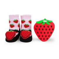 Waddle Size 0-12M Strawberry Teether and Rattle Baby Socks Gift Set