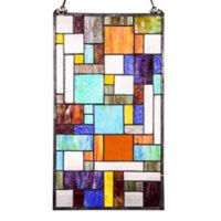River of Goods 23-Inch x 13-Inch Stained Glass Mod Collage Window Panel