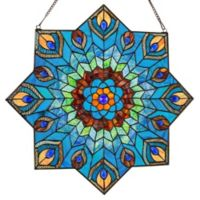River of Goods 24-Inch Stained Glass Peacock Star Window Panel