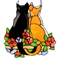 River of Goods Cats in the Garden Stained Glass Window Panel
