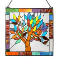 River of Goods 18-Inch Stained Glass Mystical World Tree Window Panel