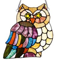 River of Goods 11-Inch Stained Glass Hoot's Owl Window Panel