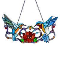 River of Goods 24-Inch Stained Glass Hummingbird Window Panel