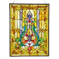 River of Goods 19-Inch x 24.75-Inch Stained Glass Fleur de Lis Window Panel
