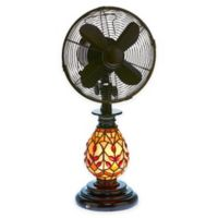 Deco Breeze® Victorian Tiffany-Style Glass Oscillating Table Fan with Lighted Base in Brown/Red