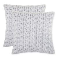 Rosette Faux Fur Square Throw Pillow in Grey (Set of 2)