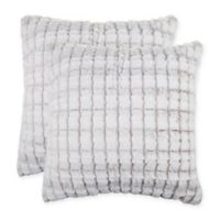 Channel Faux Fur Square Throw Pillows in Tan (Set of 2)