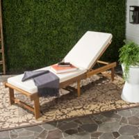 Safavieh Inglewood Acacia Wood Chaise Lounge Chair in Teak Brown/Beige