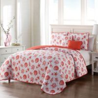 VCNY Home Marco Island Reversible Full Queen Quilt Set in Coral
