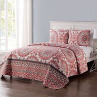 VCNY Home Phoebe Reversible Full/Queen Quilt Set in Coral