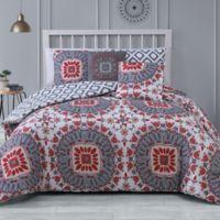 Avondale Manor Malta 5-Piece Reversible King Comforter Set in Red