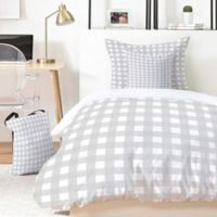 Deny Designs Grey Check 3-Piece King Duvet Cover Set in Grey