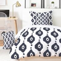 Deny Designs Navy Ikat King Duvet Set in Blue