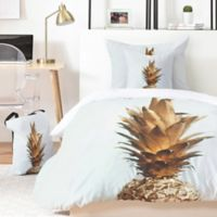 Deny Designs The Gold Pineapple 3-Piece Queen Duvet Cover in Gold