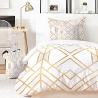 Deny Designs Elisabeth Fredriksson Golden Geo 5-Piece Queen Duvet Cover Set in Gold