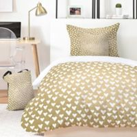Deny Designs Elisabeth Fredriksson Lil Hearts on Gold 4-Piece Twin XL Duvet Cover Set in Gold