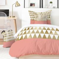 Deny Designs Georgiana Paraschiv Gold Triangles 4-Piece Twin XL Duvet Cover Set in Gold