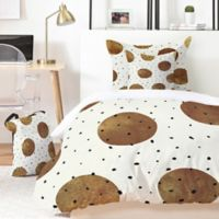 Deny Designs Georgiana Paraschiv Mixed Dots 5-Piece Queen Duvet Cover Set in Gold