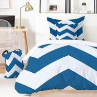 Deny Designs Holli Zollinger Denim Chevron 5-Piece Queen Duvet Cover Set in Blue/White