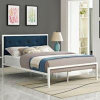 Modway Lottie King Upholstered Platform Bed in White/Azure