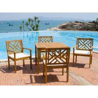 Safavieh Bradbury 5-Piece Outdoor Dining Set with Cushions in Teak Brown/Beige