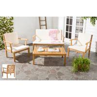 Safavieh Bradbury 4-Piece Outdoor Furniture Set with Cushions in Teak Brown/Beige