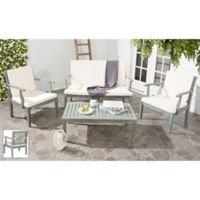 Safavieh Bradbury 4-Piece Outdoor Furniture Set with Cushions in Ash Grey/Beige