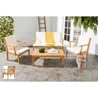Safavieh Del Mar 4-Piece Outdoor Furniture Set in Teak Brown/Beige