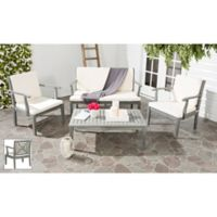 Safavieh Del Mar 4-Piece Outdoor Furniture Set in Ash Grey/Beige