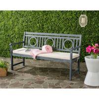 Safavieh Montclair Outdoor 3-Seat Bench with Cushion in Ash Grey/Beige