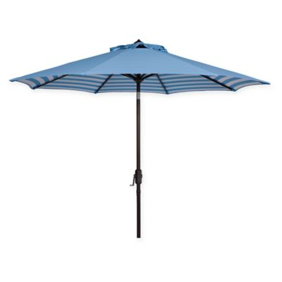 Safavieh UV Resistant Athens Inside Out Striped 9 Foot Crank Umbrella In  Blue/White