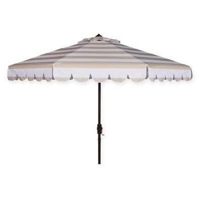 Safavieh Uv Resistant Maui Scallop Striped 9 Foot Crank Umbrella In Beige White