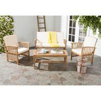Safavieh Rocklin 4-Piece Outdoor Furniture Set in Teak/Beige