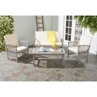 Safavieh Rocklin 4-Piece Outdoor Furniture Set in Grey Wash/Beige