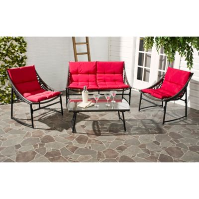Safavieh Berkane 4 Piece Outdoor Furniture Set With Cushions In Brown/Red