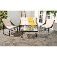 Safavieh Berkane 4-Piece Outdoor Furniture Set with Cushions in Brown/Beige