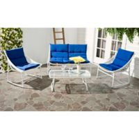 Safavieh Berkane 4-Piece Outdoor Furniture Set with Cushions in White/Navy