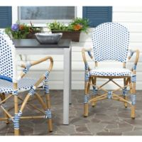Safavieh Hooper Indoor/Outdoor Armchairs in Blue/White (Set of 2)