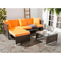 Safavieh Likoma 3-Piece Outdoor Furniture Set in Brown/Orange